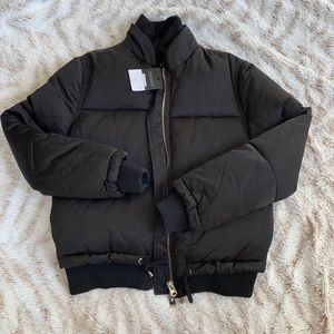 New Topshop black satin bomber puffy coat jacket 4